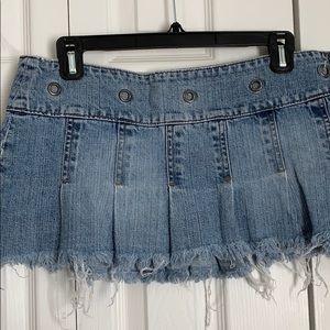 Abercrombie Kids Pleated Denim Mini Skirt